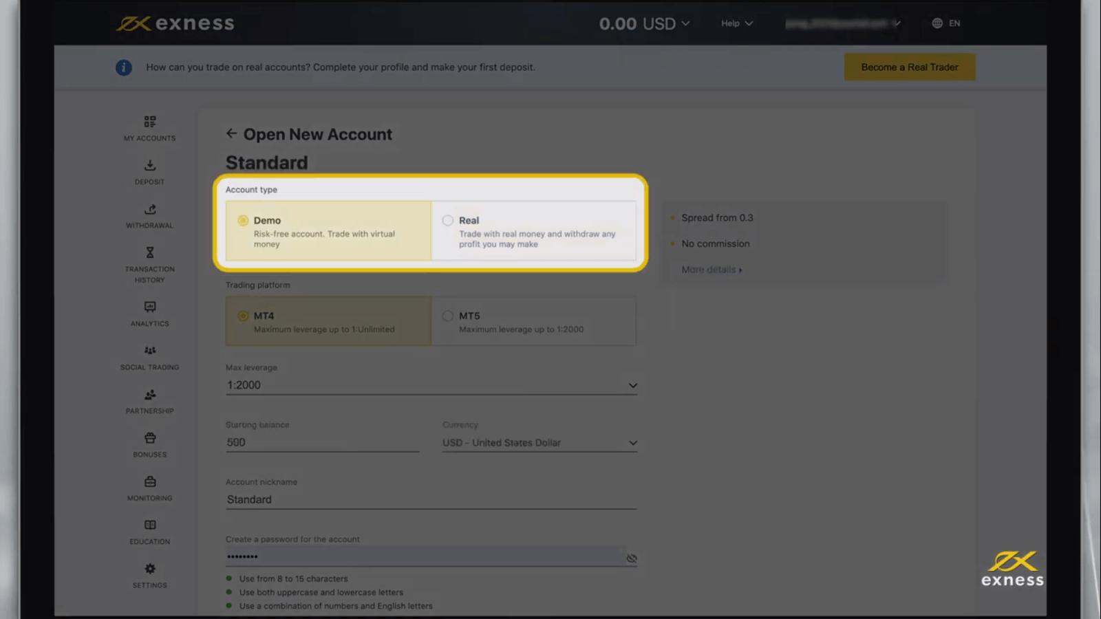 كيفية فتح حساب وسحب الأموال في Exness