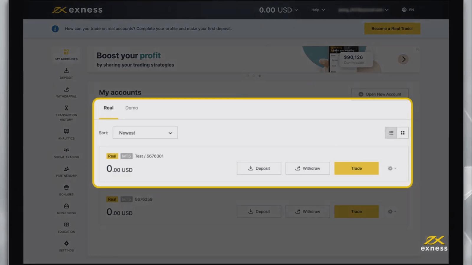 كيفية التسجيل وفتح حساب تداول في Exness